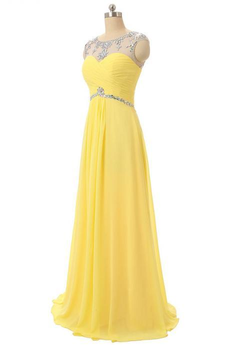 Yellow Prom Dresses,Fashion Sheer Neck Crystal Prom Gowns,Sexy Backless Chiffon Prom dresses,Custom Made Prom Dress,Long Elegant Prom Dresses,2016 Prom Dresses,Prom Dresses