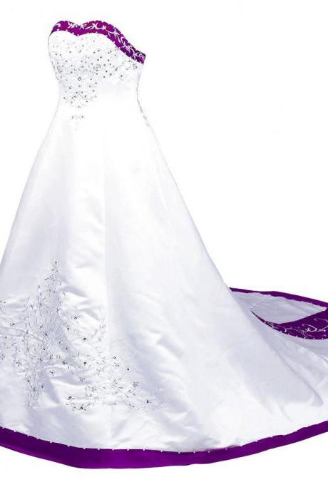 New Arrival White And Purple Sweetheart Strapless Embroidered Wedding Dresses Long Satin Wedding Gowns With Chapel Train And Button