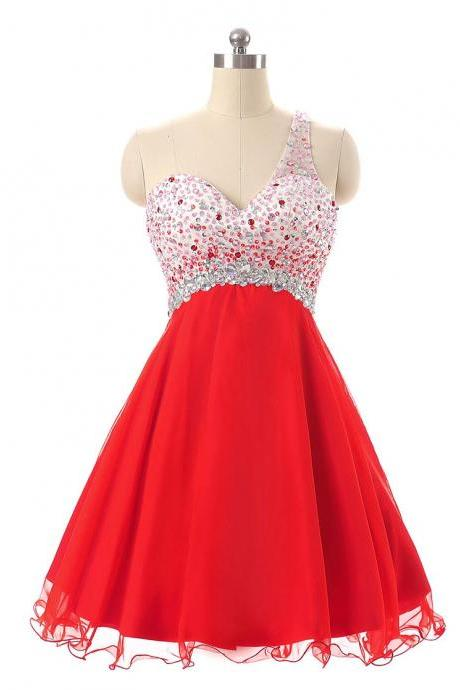 One Shoulder Red Homecoming Dresses,Short Beaded Cross Back Cocktail Dressses, Unique Short Prom Dresses