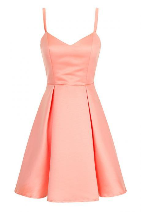 Coral Satin Short A-Line Dress Featuring Spaghetti Straps Plunge V Bodice