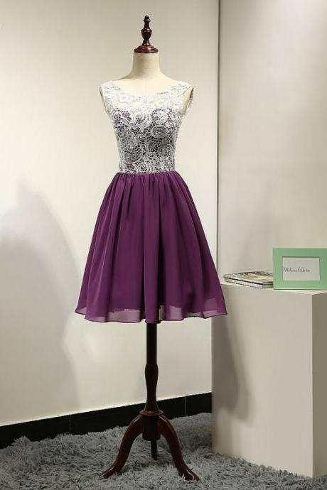 Marvelous Short Purple Sheer Neck Chiffon Bridesmaid Dresses With Lace Bodice ,Short Prom Dresses,Graduation Dresses 2016,Party Dresses,Short Evening Dresses, Short Formal Dress 2016,