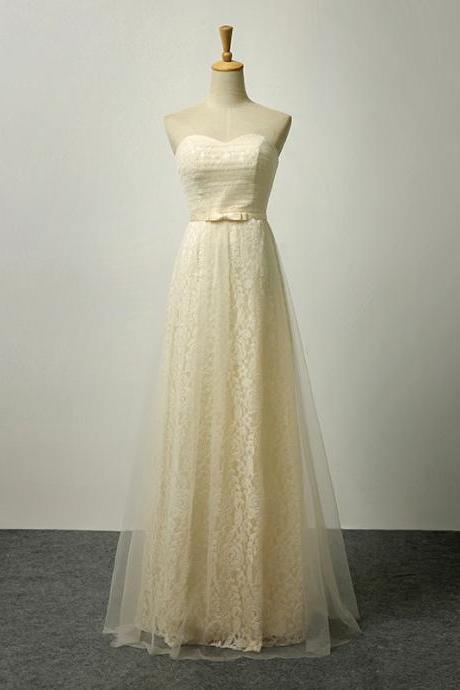 Charming Champagne Lace Sweetheart Neckline Ruched Prom Dresses- Evening Gowns, Formal Dresses