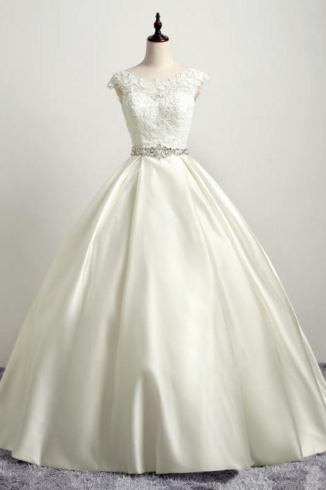 Vintage Ivory Ball Gown Lace Satin Wedding Dresses With Lace Bodice And Rhinestones Beaded Belt