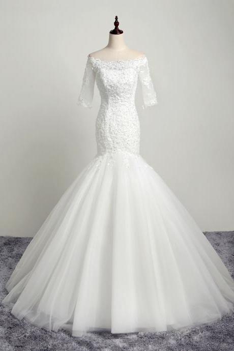 Brilliant Beaded Mermaid Wedding Dresses With Half Sleeve Long Tulle Backless Scoop Neckline Bridal Gowns