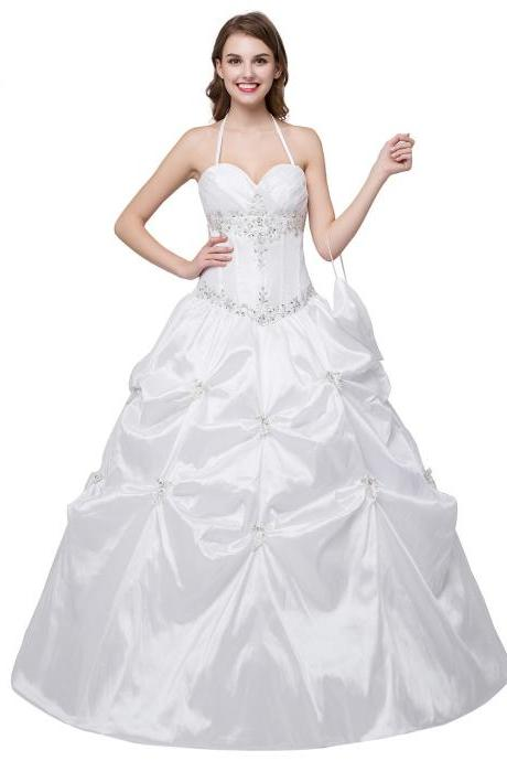 Vintage White Ball Gown Beaded Halter Neckline Wedding Dresses With Embroidery Bodice And Lace Up Back