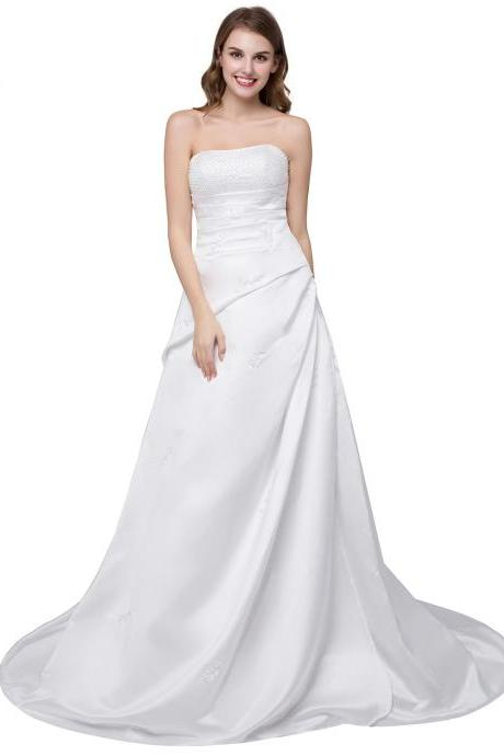 White Ivory A Line Strapless Satin Wedding Dresses Featuring Beaded Bodice And Chapel Train