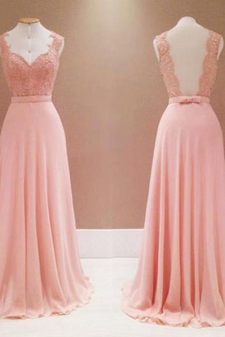 Sexy Pink A Line Prom Dresses Chiffon Backless Evening Gowns With Lace Bodice And V Neck