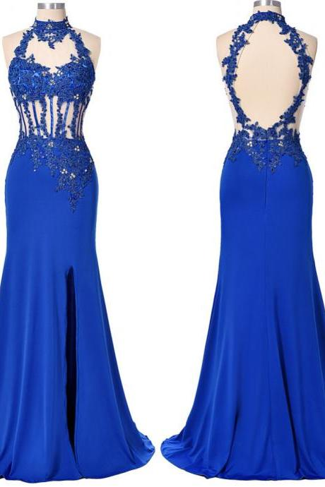 Elegant Long Royal Blue Chiffon Mermaid Formal Dresses Showcases Sheer Halter Neckline And Open Back - Evening Gowns, Prom Dresses