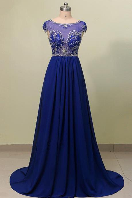 Royal Blue Floor Length Elegant Chiffon Bridesmaid Dress Featuring Sheer Bateau Neckline And Beaded Cap Sleeve