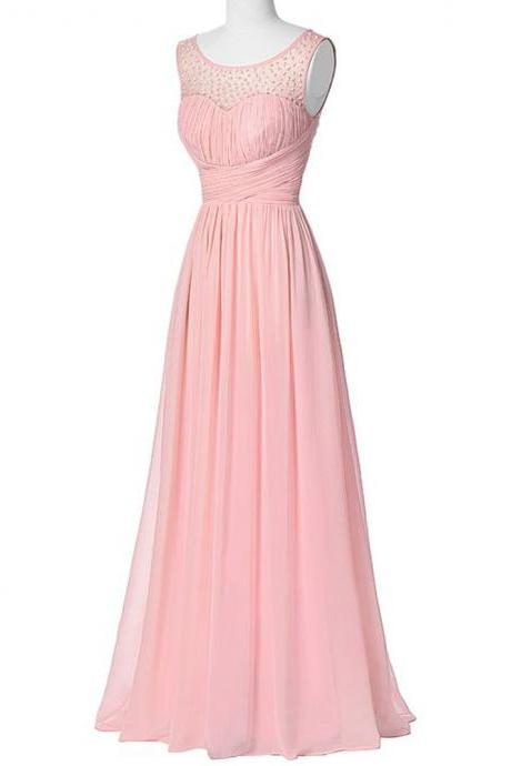 Pink Floor Length Elegant Chiffon Bridesmaid Dress Featuring Beaded Sheer Bateau Neckline