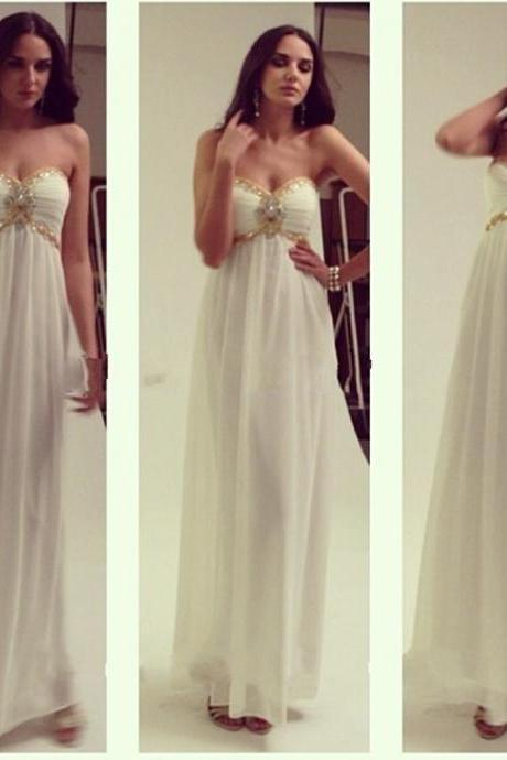 White Floor Length Sweetheart Chiffon Bridesmaid Dress Featuring Beaded Sweetheart Neckline With Keyhole