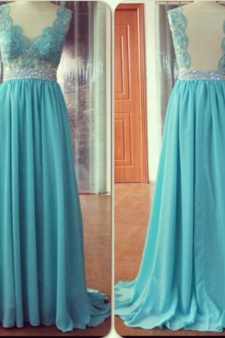 2016 Light Blue Long Sheer Neck A Line Evening Dresses With Lace Appliques New Arrival Party Dress Robe De Soiree Formal Gowns