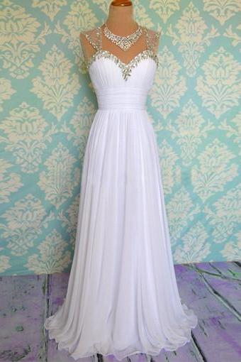 Sexy White Cap Sleeve Chiffon Formal Dress Featuring Ruched Bodice With Beaded Sleeves