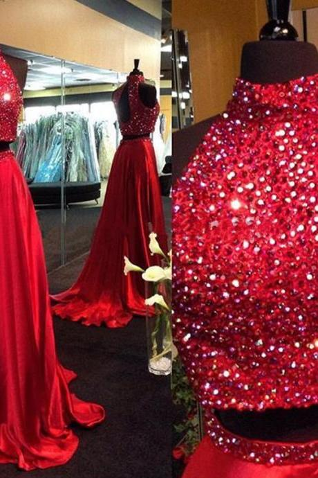 Sexy Red Satin Formal Dresses Showcases Rhinestone Beaded Halter Neckline - Two Piece Prom Dress,Long Elegant Prom Dresses, Sexy Beaded Evening Gown