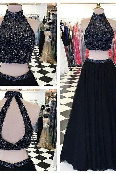Sexy Black Tulle Formal Dresses Showcases Beaded Halter Neckline And Open Back - Two Piece Prom Dress,Long Elegant Prom Dresses, Sexy Beaded Evening Gown