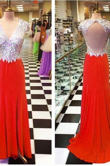 Long Red Chiffon Formal Dresses Featuring Rhinestone Beaded Bodice With V Neck And Open Back -- Long Elegant Prom Dress, Sexy Backless Evening Gown