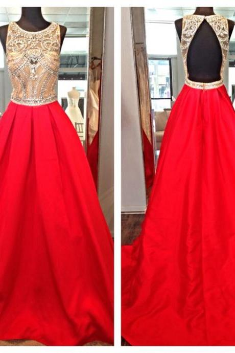 New Long Red Satin Formal Dresses Featuring Beaded Bodice And Open Back - Long Elegant Prom Dress, Sexy Backless Evening Gowns,