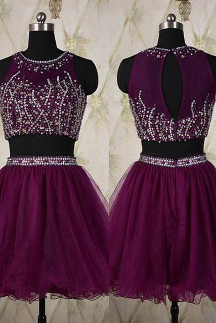 Short Grape Purple Two Piece Dress Featuring Beaded Bodice And Sheer Bateau Neckline