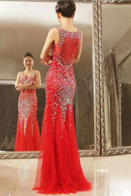 Long Red Tulle Formal Dresses Featuring Rhinestone Beaded Bodice With V Neck -- Long Elegant Prom Dress, Sexy Beaded Evening Gown