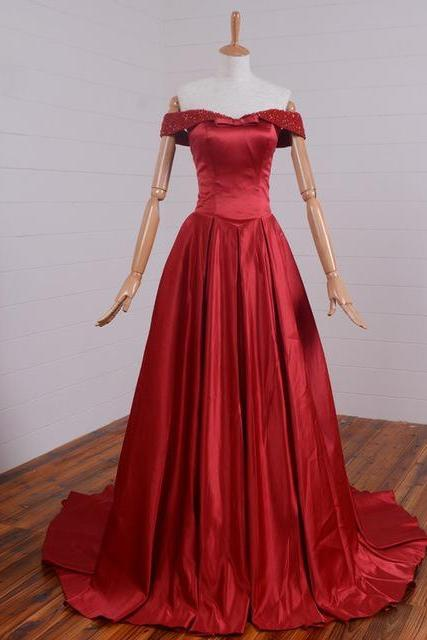 Long Red Satin Formal Dresses Featuring Beaded Off The Shoulder And Chapel Train -- Long Elegant Prom Dress, Sexy Beaded Evening Gown