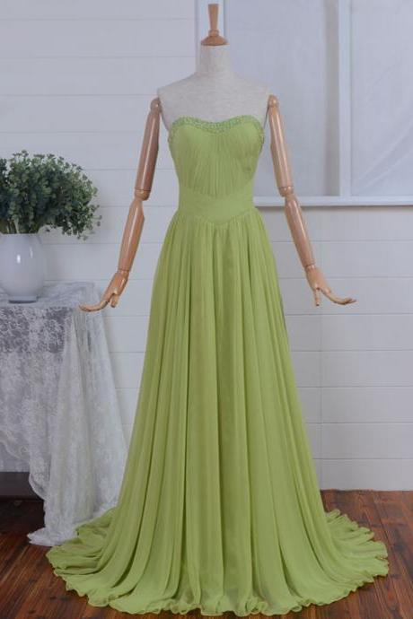 Floor Length Green Chiffon Formal Dresses Featuring Ruched Bodice With Beaded Sweetheart Neckline -- Long Elegant Prom Dress,Sexy Green Prom Gown