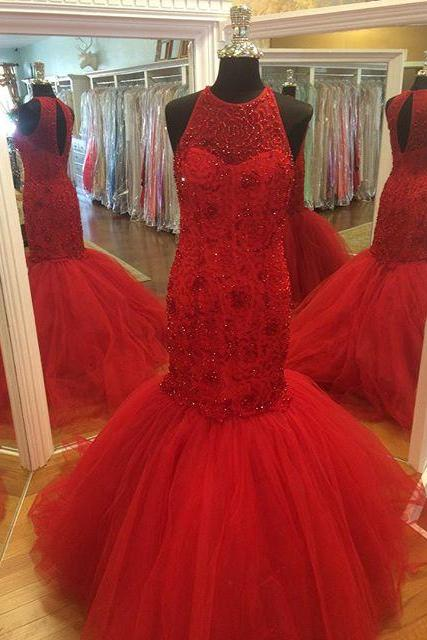 Long Red Tulle Mermaid Formal Dresses Featuring Beaded Bodice With Halter Neckline -- Long Elegant Prom Dress, Sexy Beaded Evening Gown