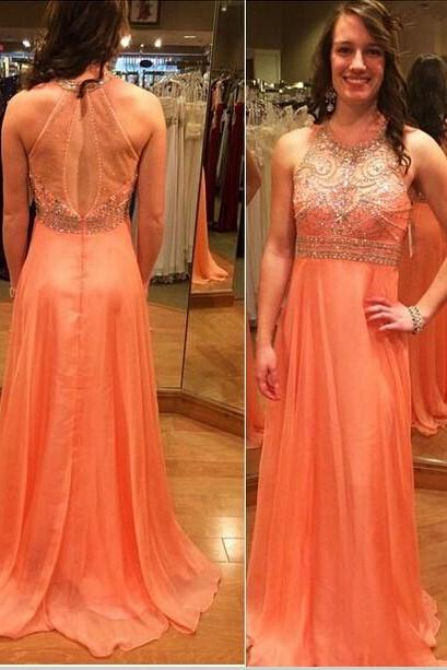 Long Coral Chiffon Formal Dresses Featuring Beaded Halter Bodice And illusion Back -- Long Elegant Prom Dresses, Sexy Evening Gown,Party Dresses