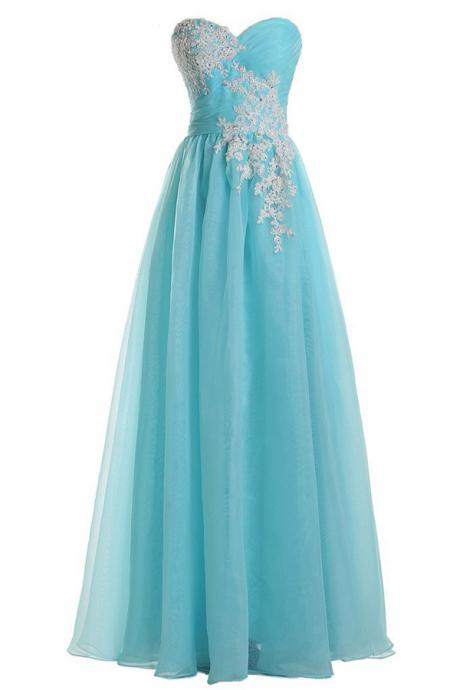 Light Blue Sweetheart Lace Applique Prom Dresses , Strapless Organza A Line Evening Gowns - Formal Gowns, Party Dresses