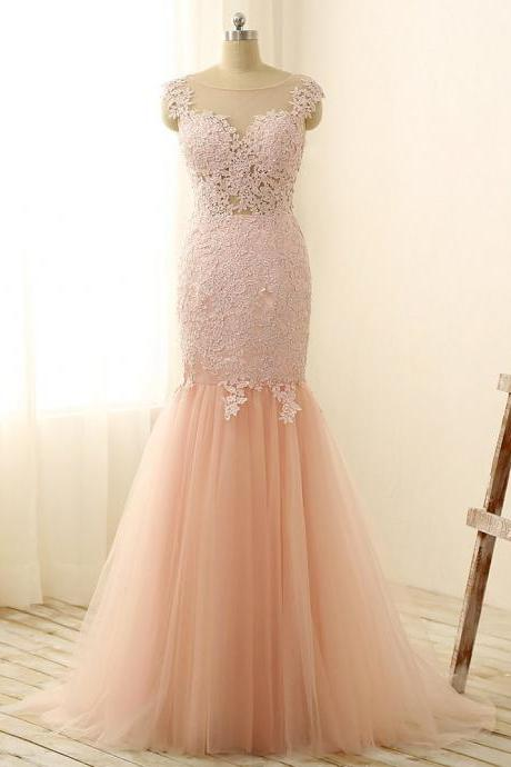Champagne Sheer Neck Prom Dresses , Sexy Lace Applique Tulle Memraid Evening Gowns - Formal Gowns, Party Dresses