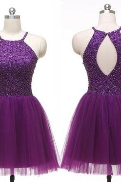 2016 Sexy Short Purple Halter Tulle Prom Dress , Graduation Dresses 2016,Party Dresses,Short Evening Dresses, Short Prom Dress 2016,