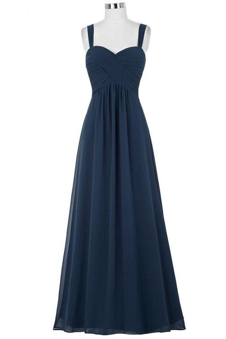 Spaghetti Straps Navy Blue Bridesmaid Dress,Floor Length A Line Navy Blue Bridesmaid Dresses,Elegant Long Cheap Prom Dresses Party Evening Gown