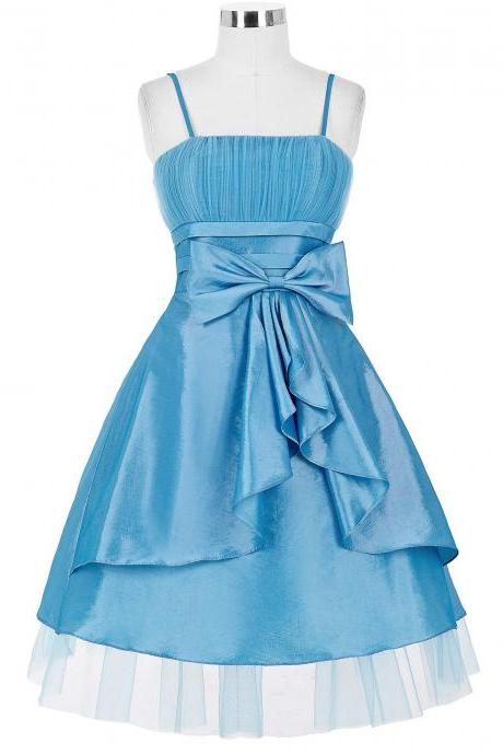 Spaghetti Straps Blue Homecoming Dresses With Bow,Short Taffeta Prom Dresses 2017