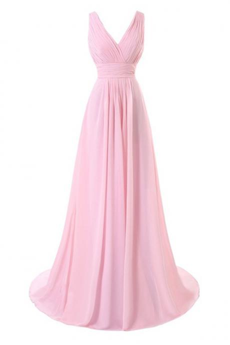 Pink Chiffon Floor Length A-Line Bridesmaid Dress Featuring Ruched Plunging Neckline Bodice and Open Back