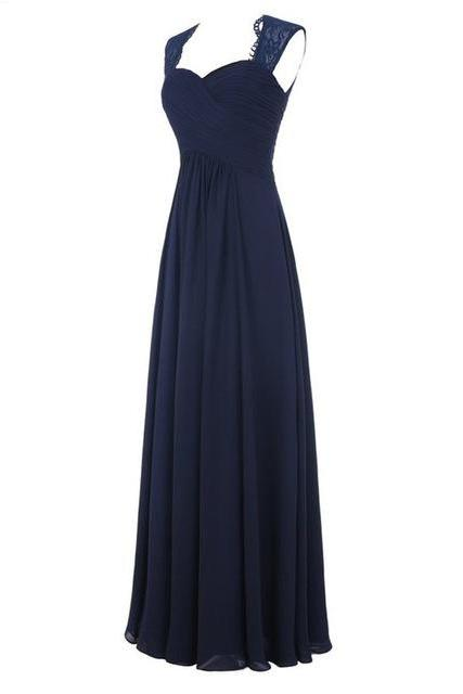 Navy Blue Chiffon Floor Length A-Line Bridesmaid Dress Featuring Ruched Sweetheart Bodice with Lace Straps and Open Back Detailing