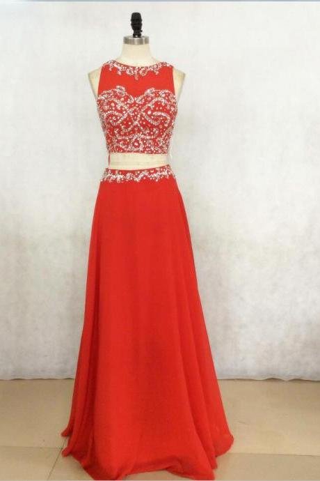 Sexy Red Long Chiffon Prom Dresses Showcases Rhinestone Beaded Bodice,Sexy Evening Gowns,Formal Dresses,Two Piece Prom Dresses