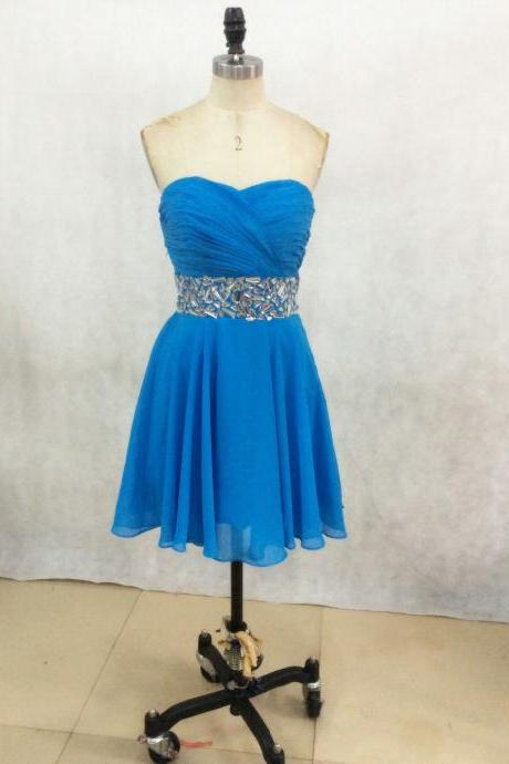 2017 Sexy Short Sky Blue Sweetheart Chiffon Prom Dress , Graduation Dresses 2017,Party Dresses,Short Evening Dresses, Short Prom Dress 2017,Sparkly Rhinestone Homecoming Dress