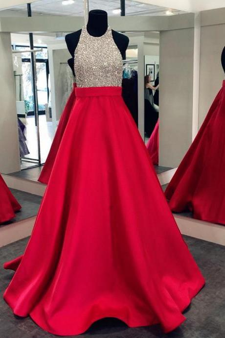 Sexy Red A Line Satin Long Prom Dresses With Beaded Bodice And Halter Neckline