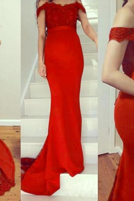 Sexy Red Satin Mermaid Formal Dresses With Lace Bodice And Off The Shoulder , Long Elegant Prom Dresses
