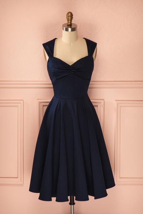 2017 Sexy Short Navy Blue V Neck Satin Prom Dress , Graduation Dresses 2016,Party Dresses,Short Evening Dresses, Short Prom Dress 2017