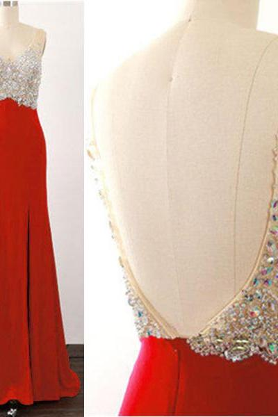 Sexy Red Beaded Backless Evening Dresses Long Elegant Side Split Chiffon Prom Dress Robe De Soiree Formal Gowns
