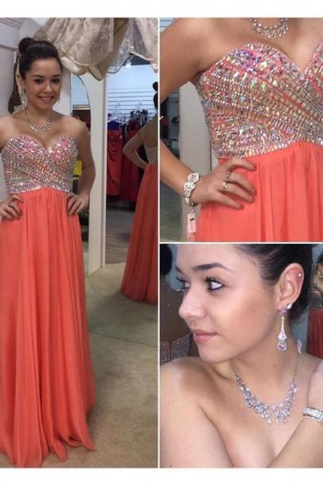 Charming Coral Beaded Rhinestones Evening Dresses Long Elegant Sweetheart Neckline Chiffon Prom Dress Robe De Soiree Formal Gowns