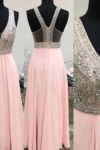 Long Pink Prom Dresses With Plunge V Neck,Sexy Beaded Strapless Chiffon Evening Gowns