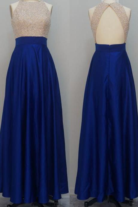 Sexy Royal Blue Prom Dresses Long Open Back Beaded Evening Dresses 2017 Real Photo Women Party Dresses Formal Gowns