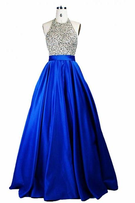 2017 Sexy Royal Blue Satin Prom Dresses,Long Elegant Beaded Halter Evening Gowns