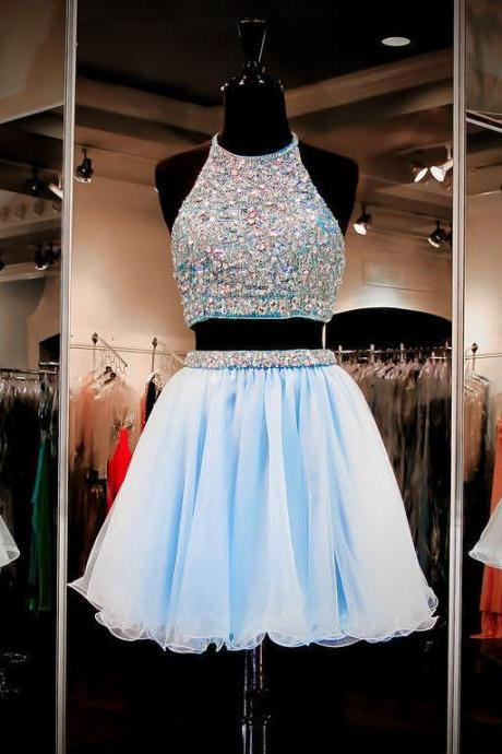 Short Prom Dress, Short Prom Gowns, 2 Piece Short Prom Dress, Blue Homecoming Dresses,Halter Formal Gowns