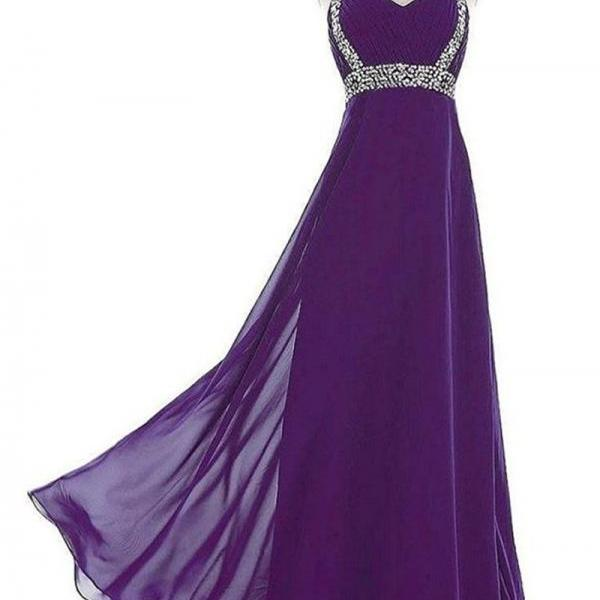 Purple Floor Length Chiffon Formal Gown Featuring Cap Sleeve Wiith Beaded Embellishment, Lace-Up Back