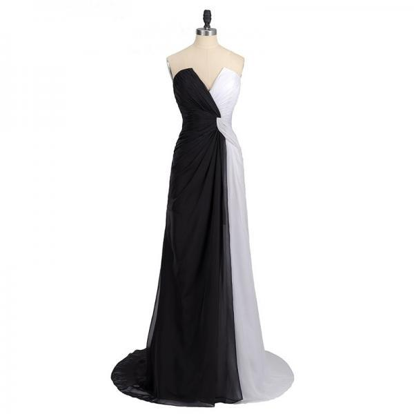 Black And White Long Chiffon Formal Gown Featuring V Neck With Pleats, Zipper Back