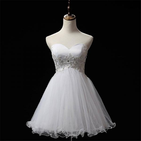 White Short Prom Dress, Short Prom Gowns, Organza Short Prom Dress, Strapless Homecoming Dresses