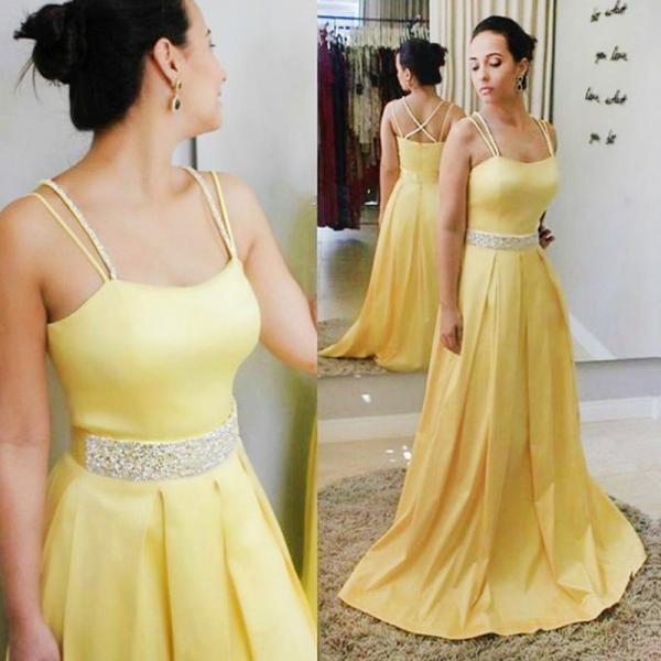 Exquisite Yellow Satin A-line Prom Dresses Featuring Spaghetti Straps And Beaded Belt