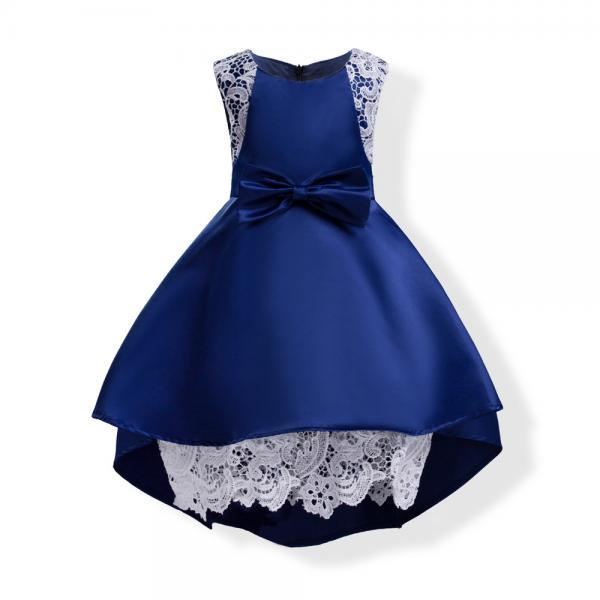 2018 high low navy blue flower girl dresses for party and wedding,elegant front short and long back satin girl dresses